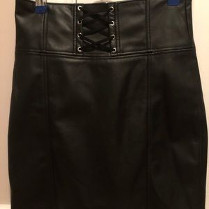 Express Black Faux Leather Skirt